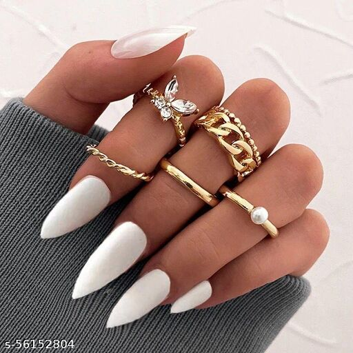 Yu Fashions Bohemian Butterfly Link Chain Pearl Ring Set of 5