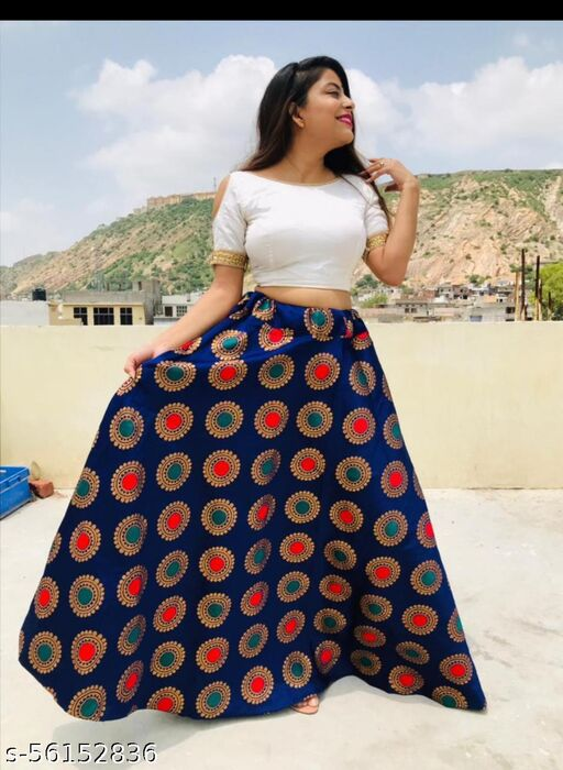 Women Party Wear Printed Cotton Skirt