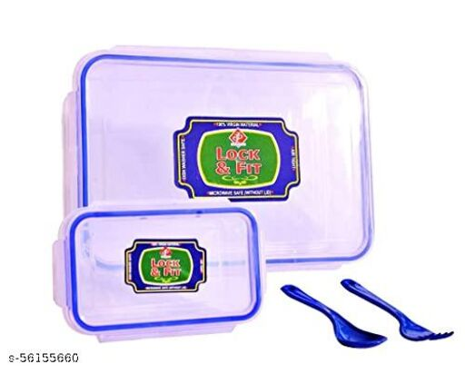KIVYA Plastic Lunch Box | Transparent Containers with One Small Box | Plastic Spoon and Fork | Leak Proof | Microwave Safe - Set of 1