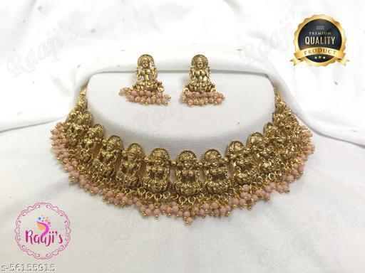 raajis6174-Peach jewellery set