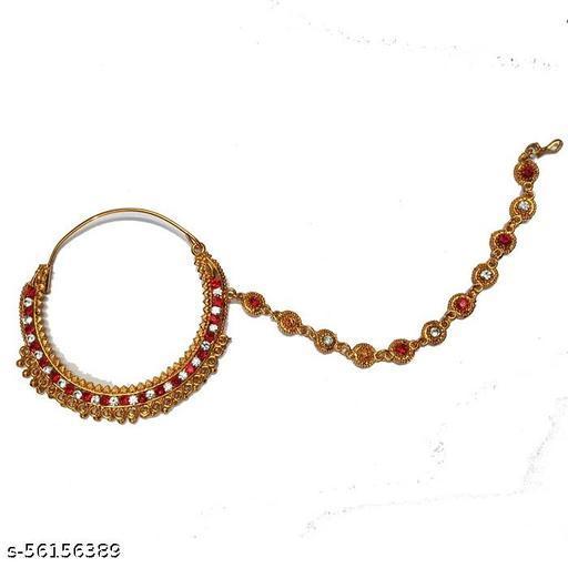 Simple Plain Bridal Nath with hair chain