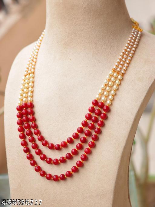 Rajwadi Jaipuri Mala & Kantha Pearl 3 Layered Gold plated Necklace for Men & Women