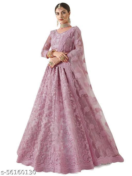 Women's Chain Stitch Semi Stitched Net Lehenga Choli (Rose Pink_Free Size)