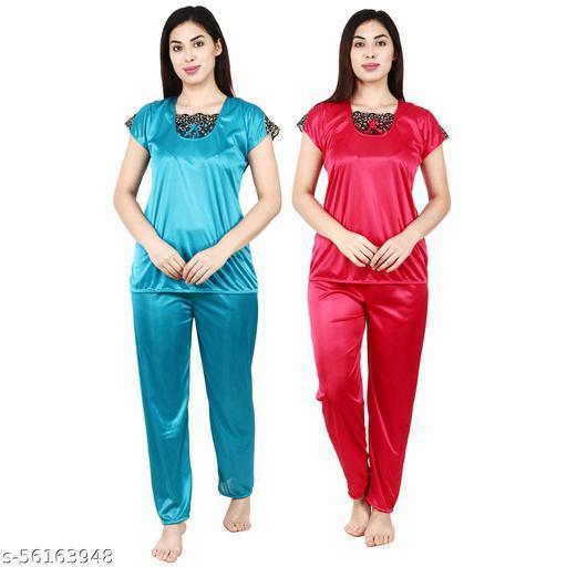 RE OK Women Solid Night Suit for girl night sleepwear