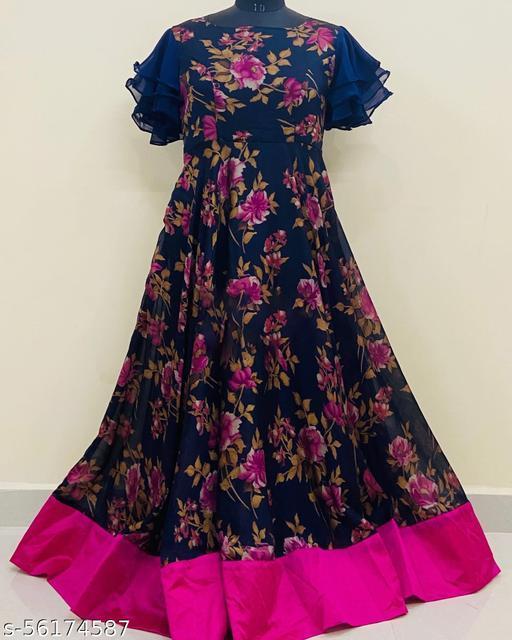 Exclusive Black Printed Gown