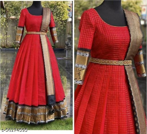 Red Jaquard Designer Gown with Dupatta