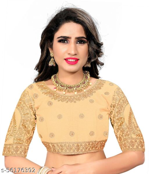 Diamond and Embroidary Work Blouse Golden