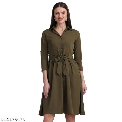 Olive green solid woven shirt dress, has a shirt collar, three-quarter sleeves, button closure, flared hem Comes with a fabric belt