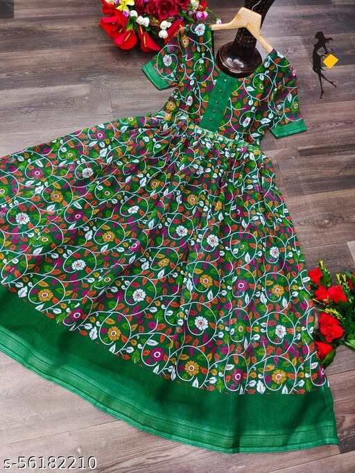 Rangkruti Premium Linen Fabric Round Neck Full Length Half Sleeves Micro Cotton Lining Fabric Full Flair Green Gown With Kalamkari Digtal Printed Gown For Women