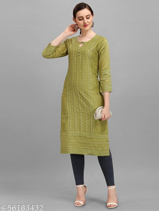 Deetya Arts presents  Stitched Straight Calf Length Heavy Kurti for Women and Girl Kurti Will complement Your Ethnic Look and Will Look Smart A for Women and Girls for All Occasions can be Used.