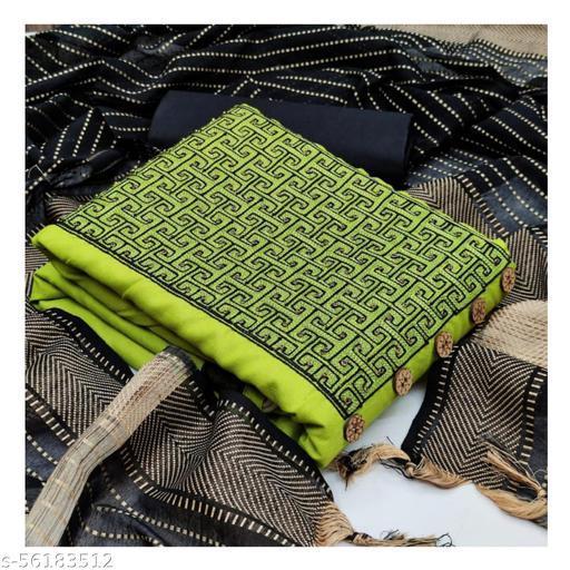 Embroidery Zari Butta Work Pure Cotton Fabric Salwar, Suit & dupattaa (top, bottom & dupatta Set) dress materiyal (Green)