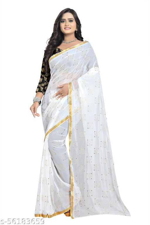Pure Chiffon light daily use sifon Fabric Embellished sari With jaquard Blouse Piece For Women