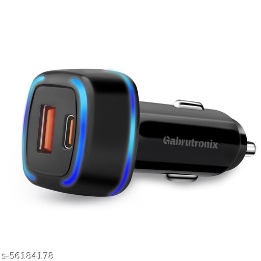 Gabrutronix 38W 2in1 PD QC Car Charger for Android & iOS/Dual Port Type-C Charger for iPhone12/12 Pro/11/11 Pro/XR/Xs/Max/X, iPad & Many More