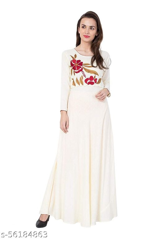 LIVZA embroidered long sleeved maxi dress