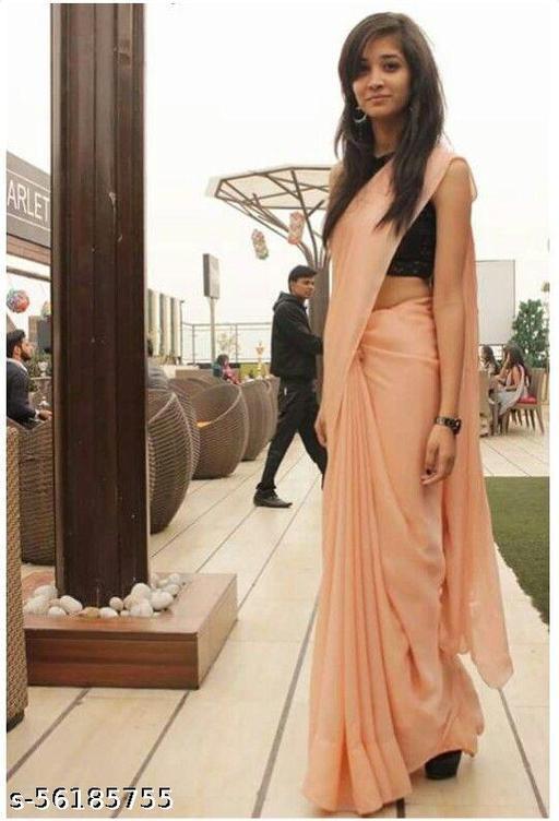 Peach Hot look Saree with Black Bangalori Silk Blouse