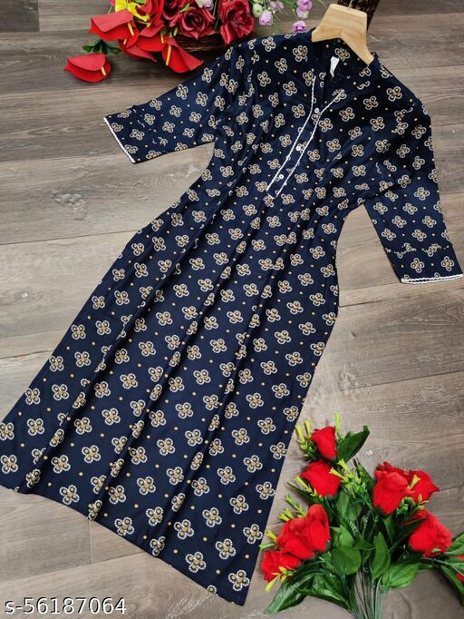 Fashion Store Women's Special Pure Rayon Printed Kurti With Very Beautiful Prints With Buttons And Border.