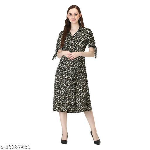 "D'VESH "" WOMEN REGULAR FIT PRINTED CALF LENGTH DRESS"""