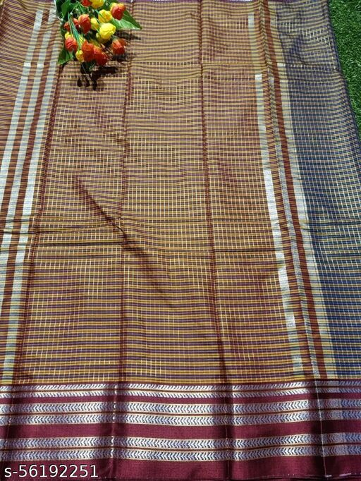New Designer Grey Pure cotton checks saree With Running Bloues