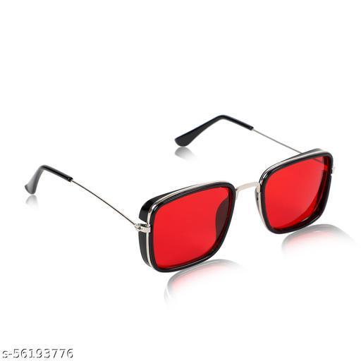Alchiko Unisex KS Square Retro Sunglasses With UV Protection Black Frame, Red Lens, Free Size
