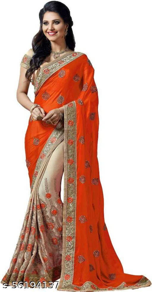 Krutam Fashion Embroidered Bollywood Art Silk, Vichitra Saree