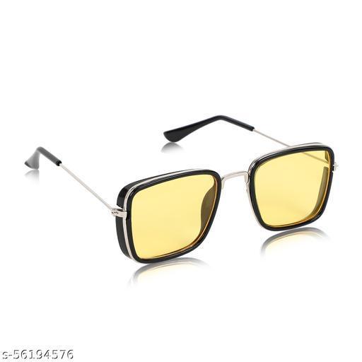 Alchiko Unisex KS Square Retro Sunglasses With UV Protection Black Frame, Yellow Lens, Free Size