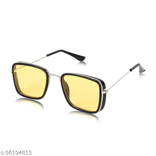 Alchiko Latest Unisex KS Square Retro Sunglasses With UV Protection Black Frame, Yellow Lens, Free Size