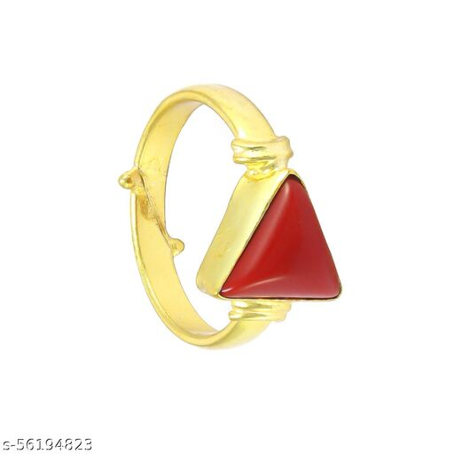 5.25 Ratti Tringal Red Coral Moonga Ring For  Women With Lab Certified