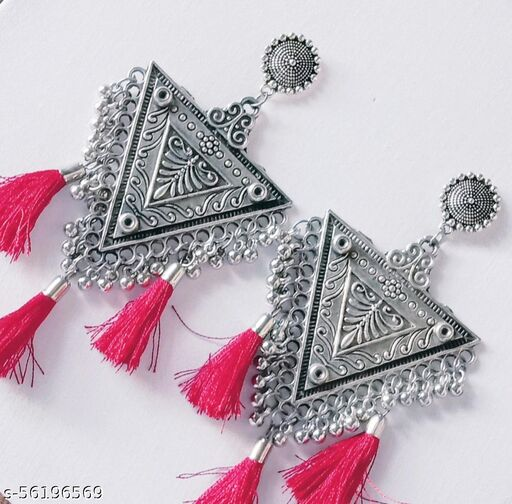 Beautiful Oxidised Triangle Earring with Red Thread