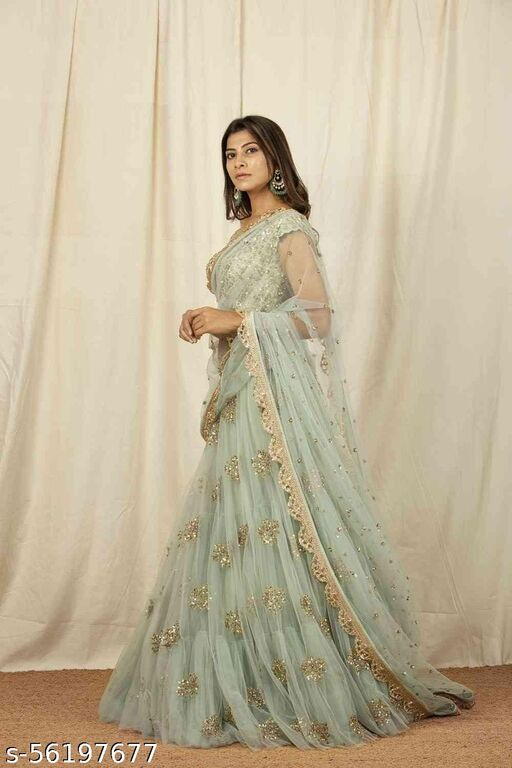 Unique Olive Green Colored Embrodary Work Party Wear Designer Net with Raw Silk Lehenga Choli-lc280