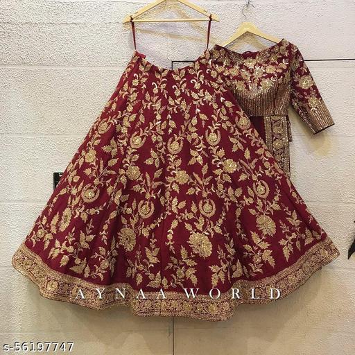 Maroon Colored Party wear Designer Embroidered Malay Satin Silk Lehenga Choli LC 287