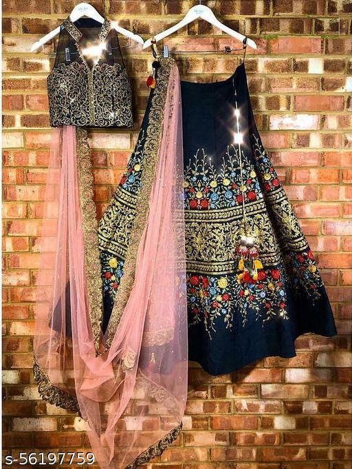 Black Colored Designer Partywear Embroidered Work Malay Silk Material Lehenga Choli