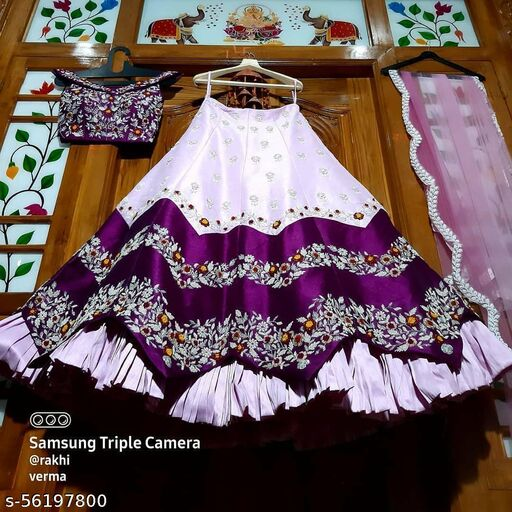 Pink and White designer Partywear Embroiderd Work Malay satin Material With Dupatta and Blouse Lehenga Choli - LC 18