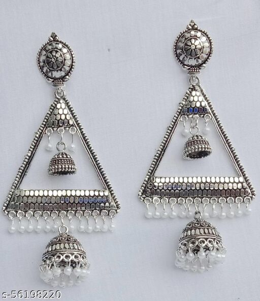 Beautiful Oxidised Triangle Jumka Earring