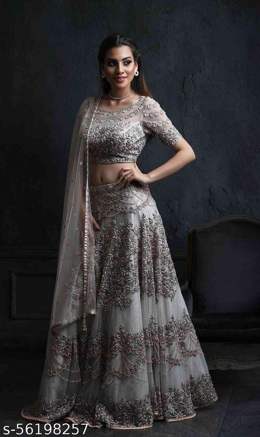 Grey Colored Partywear Designer Embroidered Net with silk Lehenga Choli-LC66