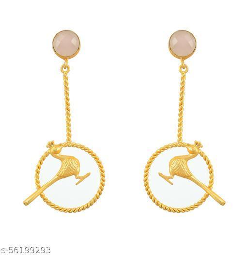 22K GOLD PLATED BRASS MADE TRENDING HANGING BIRD DESIGNER EARRING FOR WOMEN GIRLS GIFT(pink)…