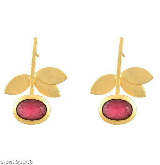 22K GOLD PLATED BRASS MADE TRENDING DESIGNER DROP EARRING FOR WOMEN GIRLS GIFT(red)…