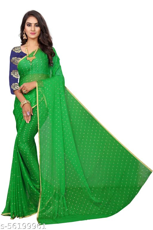 Women's Woven Pure Chiffon Saree With Blouse Piece