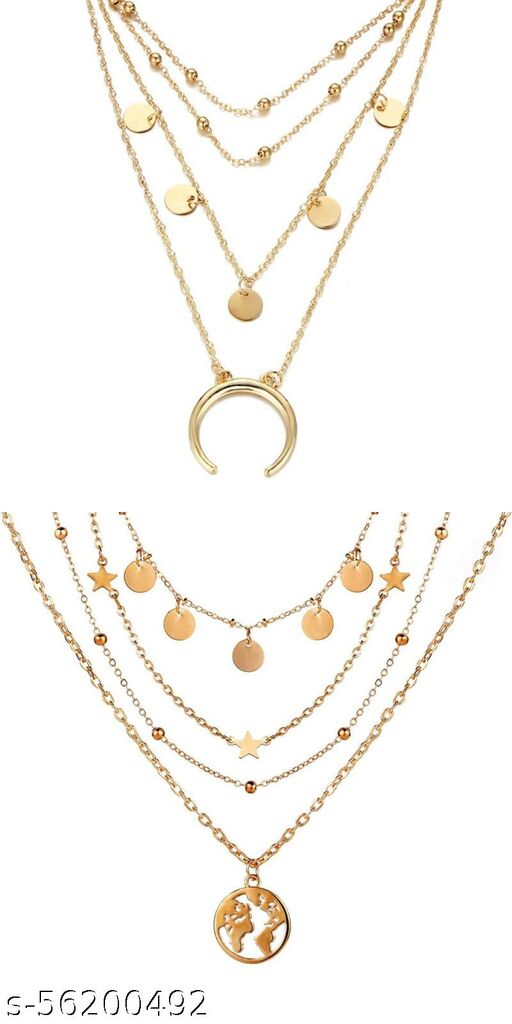 Pack Of 2 Gorgeous Gold Plated Triple Layered Beads, Coin, Star and Earth Pendant Necklace for Women and Girls