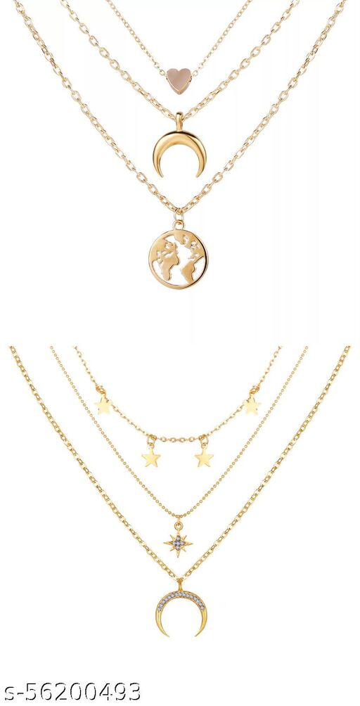 Pack Of 2 Charming Gold Plated Triple Layered Stars Half Moon and Earth Pendant Necklace for Women and Girls