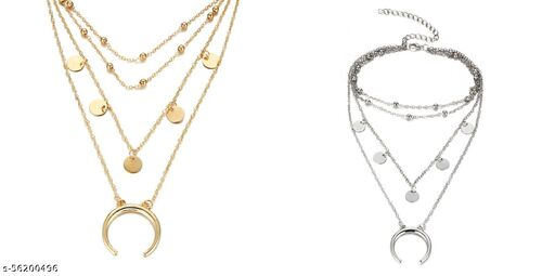 Pack Of 2 Gorgeous Gold and Silver Plated Triple Layered Beads, Half Moon and World Pendant Necklace for Women and Girls