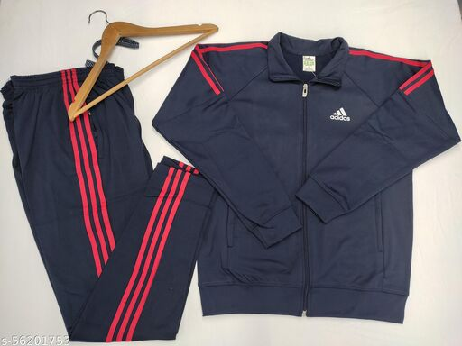 MENS IMPORTED TAIWAN POLYESTER FLEECE FULL SLEEVE SPORTS TRACK SUIT (Navy Blue)