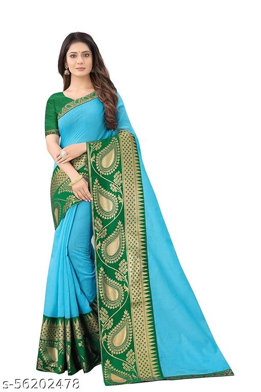 Women's big border Chanderi Cotton Silk Occasional And Festive Saree With Blouse Piece
