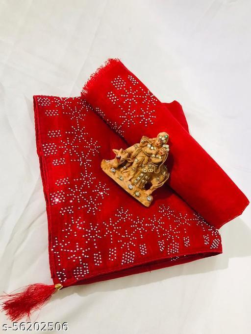 Beautiful Diamond Work Vichitra Silk Saree