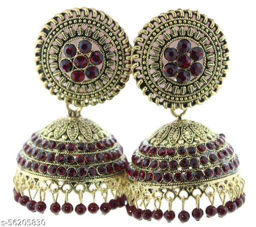 Fashionhaat Designer  color Jhumka earrings for women Party wear earrings Jhumka earrings fancy big for wedding Traditional Jhumka Alloy Jhumki Earring(Maroon)