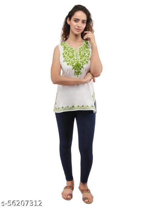QAZMI Women's Embroidered Sleeveless White Kurti Top