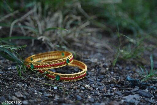 Wholesome Gold Polish Designer Traditional Bangle Set For Women(Pack of 2)
