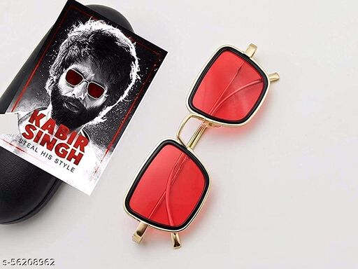 Branded Metal Body gold Square inspired from Kabir Singh Sunglass is suitable for boys and men with all types of faces Colour : Full Shiny Gold Frame & Temple and Gradient Red  Lens