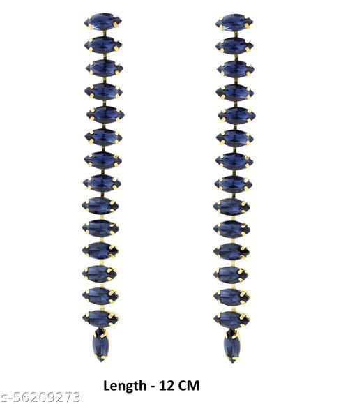 Fashionhaat Fashionhaat Elegant Sparkling Crystal Classic Design Dangle Earrings for Women and Girls Crystal Alloy Drops & Danglers(Golden) Crystal Alloy Drops & Danglers (Navy Blue)
