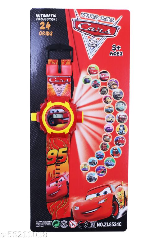 Jainixi sales Super Cars 24 Images Projector Digital Toy Watch for Kids