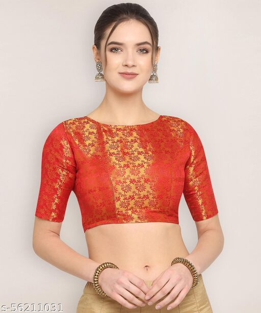 Oomph! Jacquard High Back Blouse - Red - rbbl31